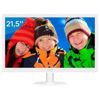 Monitor 21,5 Led Philips Branco-Hdmi-Vga-Full HD-Vesa - 223v5lhsw 110/220V bivolt