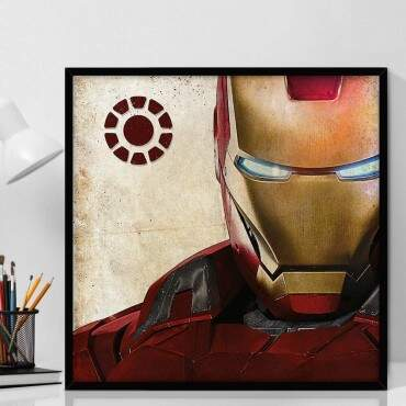 Quadro Decorativo Com Moldura Geeks Marvel Avenger Iron-Man