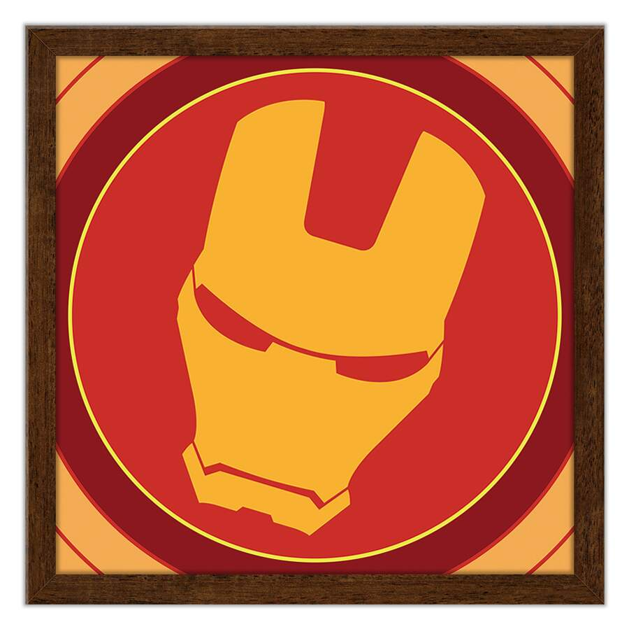 Quadro Decorativo Com Moldura Geeks Marvel - Iron Man Logo