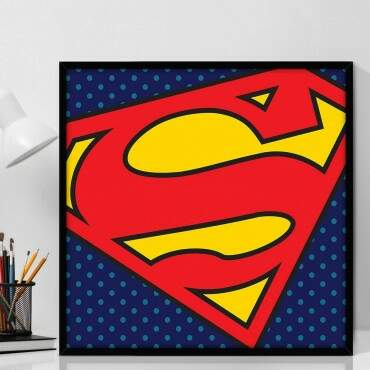 Quadro Decorativo Com Moldura Geeks Logo Superman - DC