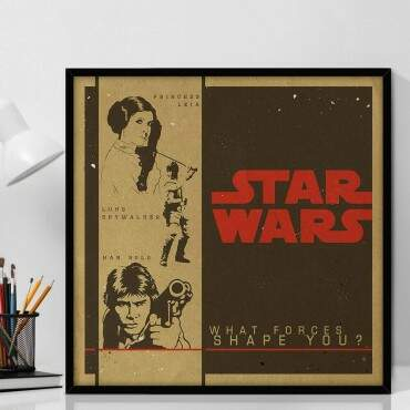 Quadro Decorativo Com Moldura Geeks Star Wars Personagens