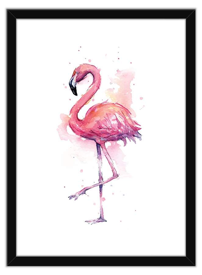Quadro Decorativo Com Moldura Animais Flamingo Aquarela