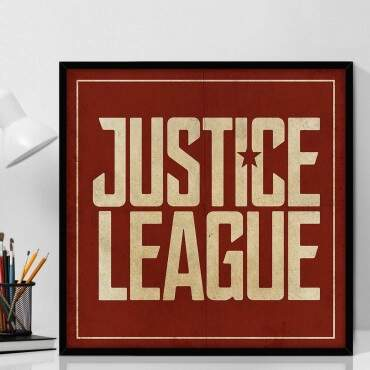 Quadro Decorativo Com Moldura Geeks Justice League Logo