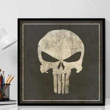 Quadro Decorativo Com Moldura Geeks Marvel Punisher Logo