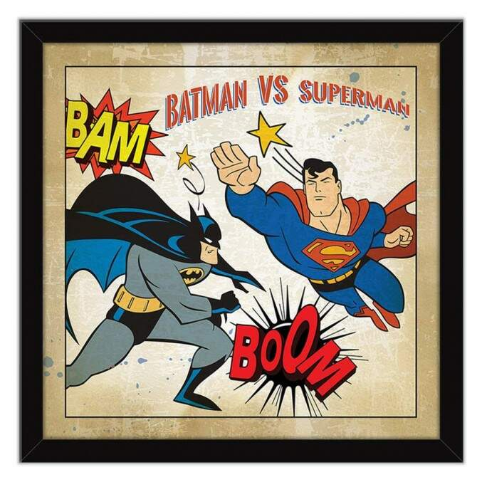 Quadro Decorativo Com Moldura Geeks Batman vs Superman