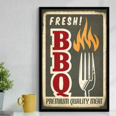 Quadro Decorativo Com Moldura Gourmet Fresh Barbecue Premium