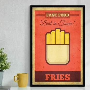 Quadro Decorativo Com Moldura Gourmet Fast Food Fries Best