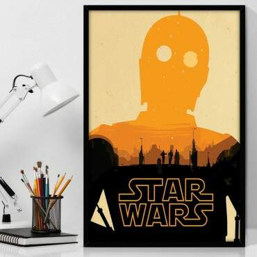 Quadro Decorativo Com Moldura Geeks Star Wars Droid C-3PO
