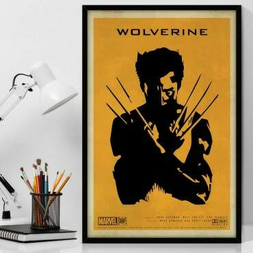Quadro Decorativo Com Moldura Geeks Marvel Wolverine Shadow