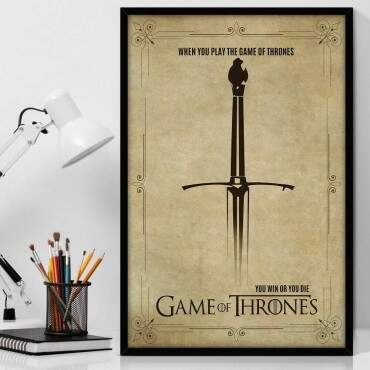 Quadro Decorativo Com Moldura Geeks Série Game of Thrones