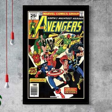 Quadro Decorativo Com Moldura Gibis The Avengers Heroes