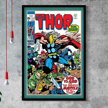 Quadro Decorativo Com Moldura Gibis The Mighty Thor Battle