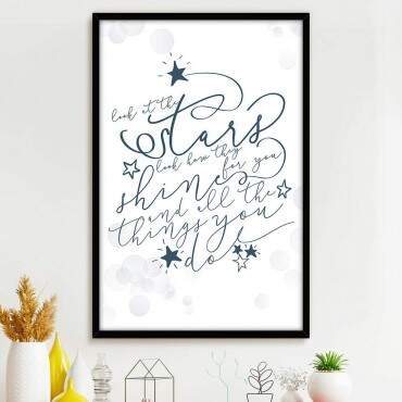 Quadro Decorativo Com Moldura Frases Look At The Stars