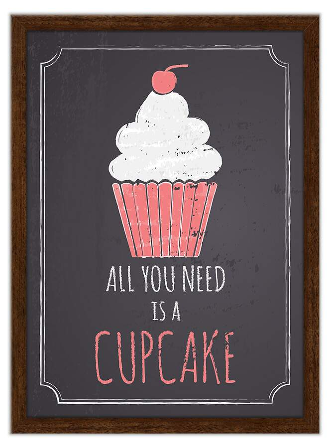 Quadro Decorativo Frases All You Need Is Cupcakes