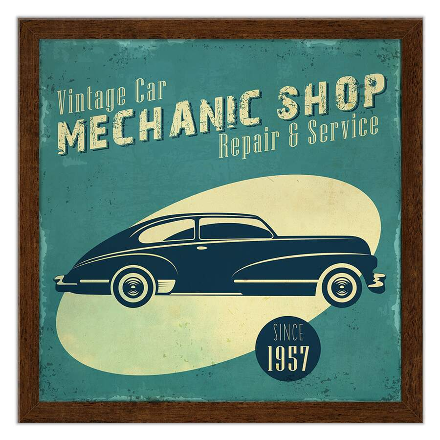 Quadro Decorativo Motor Vintage Car Mechanic shop Caixa