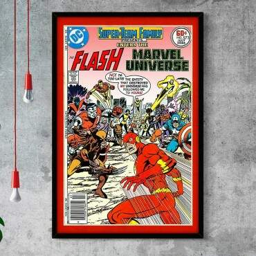 Quadro Decorativo Com Moldura Gibis Quadrinhos Flash Marvel