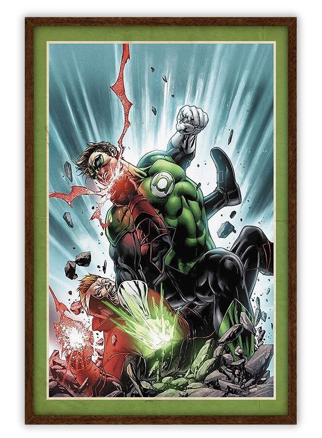 Quadro Decorativo Com Moldura Gibis Green Lantern And Joker