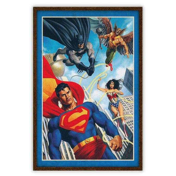 Quadro Decorativo Com Moldura Gibis Justice League Dc Comics