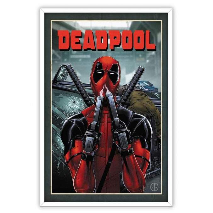 Quadro Decorativo Com Moldura Gibis Deadpool Guns Marvel