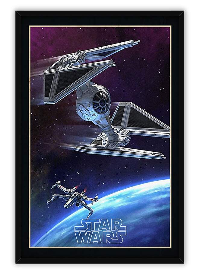 Quadro Decorativo Com Moldura Gibis Star Wars Espaçonaves