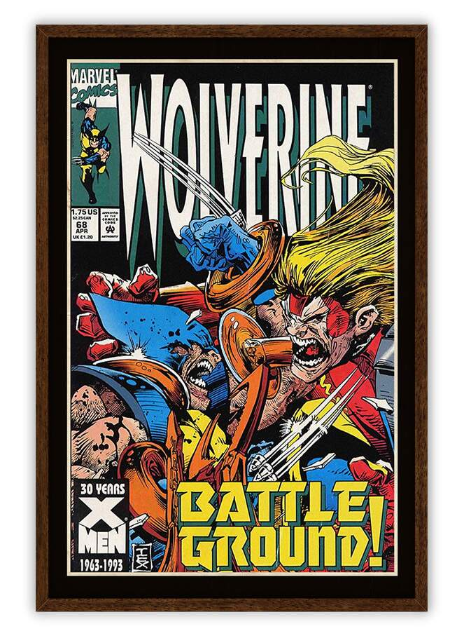 Quadro Decorativo Com Moldura Gibis Wolverine Battle Ground