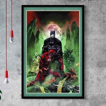 Quadro Decorativo Com Moldura Gibis Capa Batman E Flash
