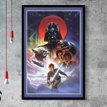 Quadro Decorativo Com Moldura Gibis Star Wars Personagens