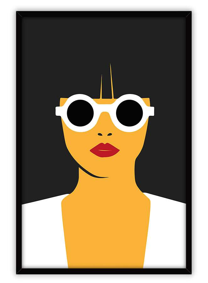 Quadro Decorativo Com Moldura Retrô Woman Glasses Minimalist