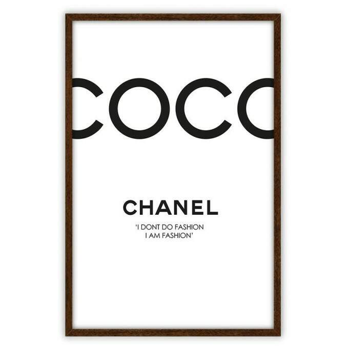 Quadro Decorativo Com Moldura Fashion Coco Chanel Paris