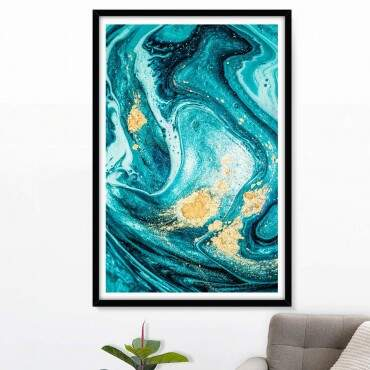 Quadro Decorativo Com Moldura Color Prime Topázio Gold