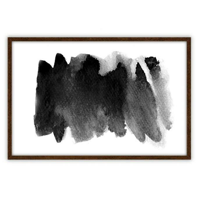 Quadro Decorativo Com Moldura Abstrato Brush Preto e Branco