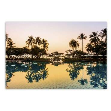 Quadro Decorativo Com Moldura Natureza Resort Pôr do Sol