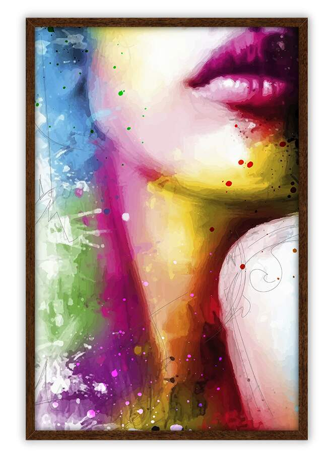 Quadro Decorativo Com Moldura Arte Pop Pintura Splash Boca