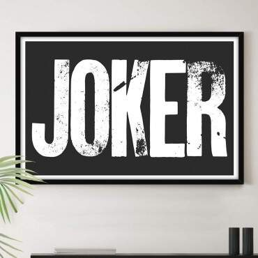 Quadro Decorativo Com Moldura Arte Pop Joker Fundo Preto
