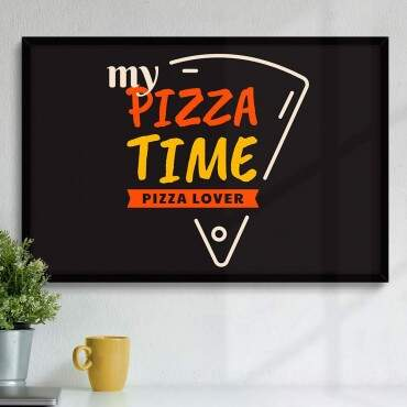 Quadro Decorativo Com Moldura Gourmet Pizza Time Pizza Lover