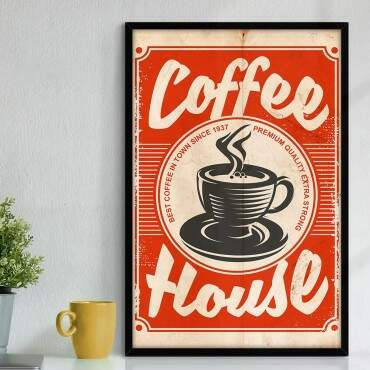 Quadro Decorativo Com Moldura Gourmet Cartaz Coffee House