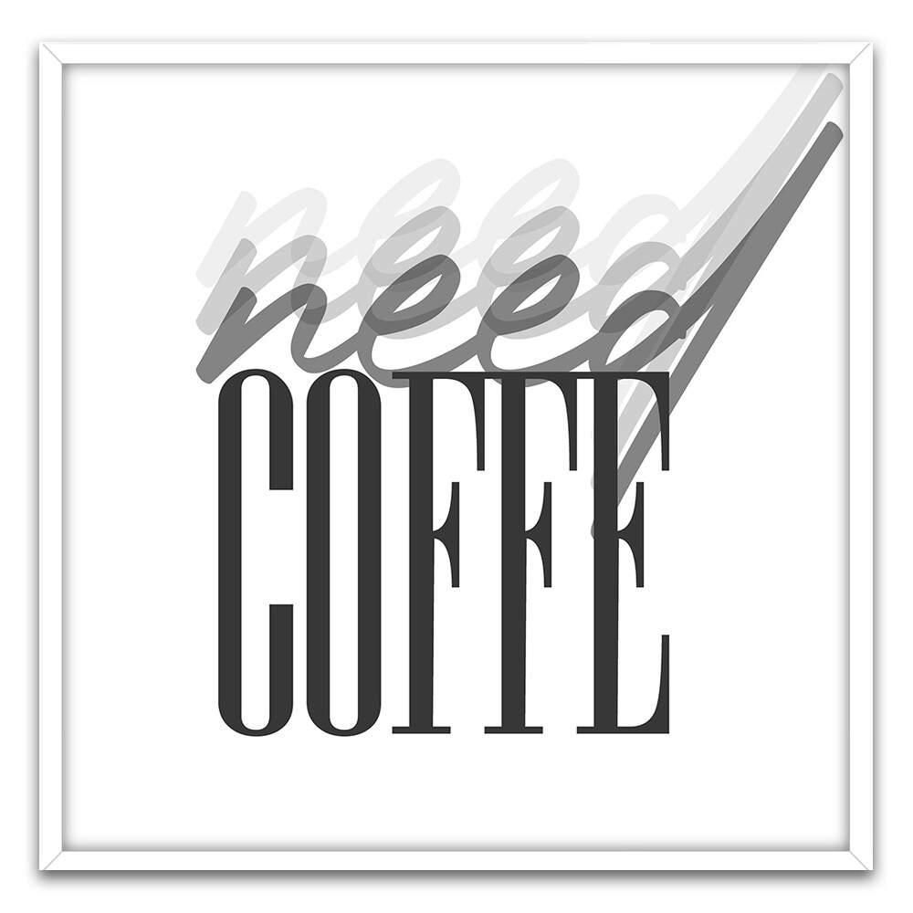 Quadro Decorativo Com Moldura Frases Need Coffee Minimalista