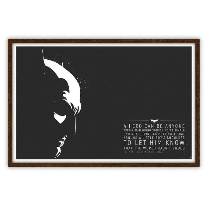 Quadro Decorativo Com Moldura Frases Batman The Dark Knight