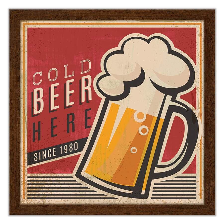 Quadro Decorativo Gourmet Cold Beer Here