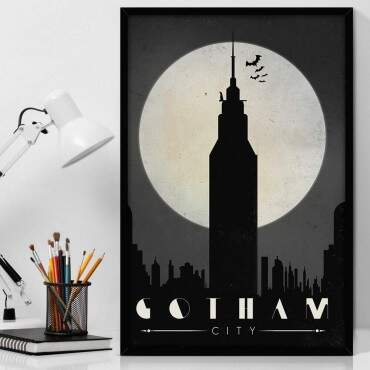 Quadro Decorativo Com Moldura Geeks Batman Gotham City