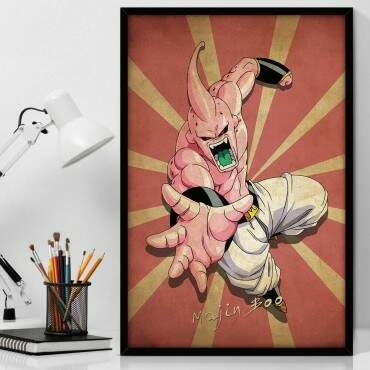 Quadro Decorativo Com Moldura Geeks Dragon Ball - Majin Boo