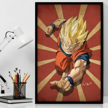 Quadro Decorativo Com Moldura Geeks Dragon Ball - Gohan