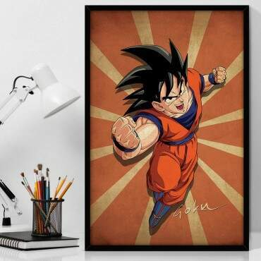 Quadro Decorativo Com Moldura Geeks Dragon Ball - Goku