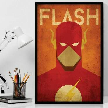 Quadro Decorativo Com Moldura Geeks The Flash Minimalist