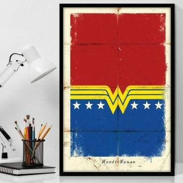 Quadro Decorativo Com Moldura Geeks Wonder Woman Paper