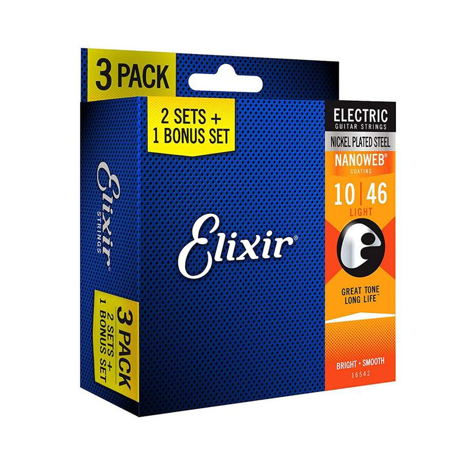 Kit Encordoamento Guitarra Elixir 010 Nanoweb Leve 3 Pague 2
