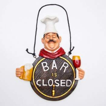 Estatueta Decorativa Chef Bar Closed em Resina 30 x 21 cm