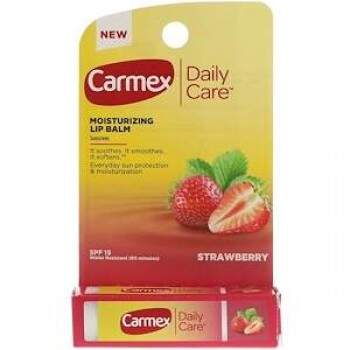 Lip Balm Carmex Morango Hidratante Labial Daily Care FPS 15 Stick