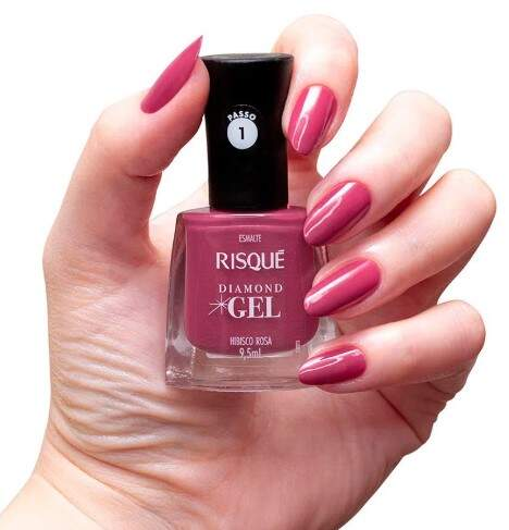 Esmalte Risqué Diamond Gel Hibisco Rosa 9,5ml