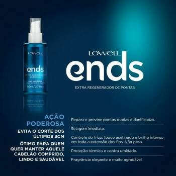Finalizador Spray Lowell Ends Regenerador de Pontas 80ml